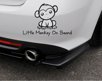 Little Monkey on Board Decal- Baby on Board Decal