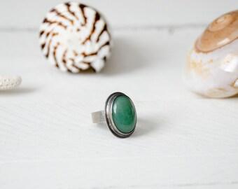Green Aventurine Sterling Silver Ring | Sterling Silver Ring | EcoFriendly Ring | Aventurine Jewelry | Pacific Green Ring
