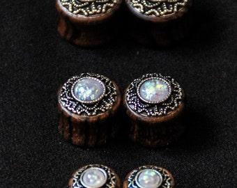 Original Ear Plugs - Wood - Fake Opal - Tribal - Ethnic - Boho - Chic - Travel - Goa - Trance Festivals - Organic