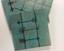 Turquoise Arrow Coasters-Turquoise with Wood Grain Pattern Coasters - Teal Drink Coasters -Housewarming Gift