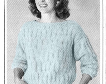 Checked Pattern Knit Pullover EASY Pattern - PDF Pattern Download - Boat Neck, 3/4 Sleeves, Mid Weight Cotton Sweater