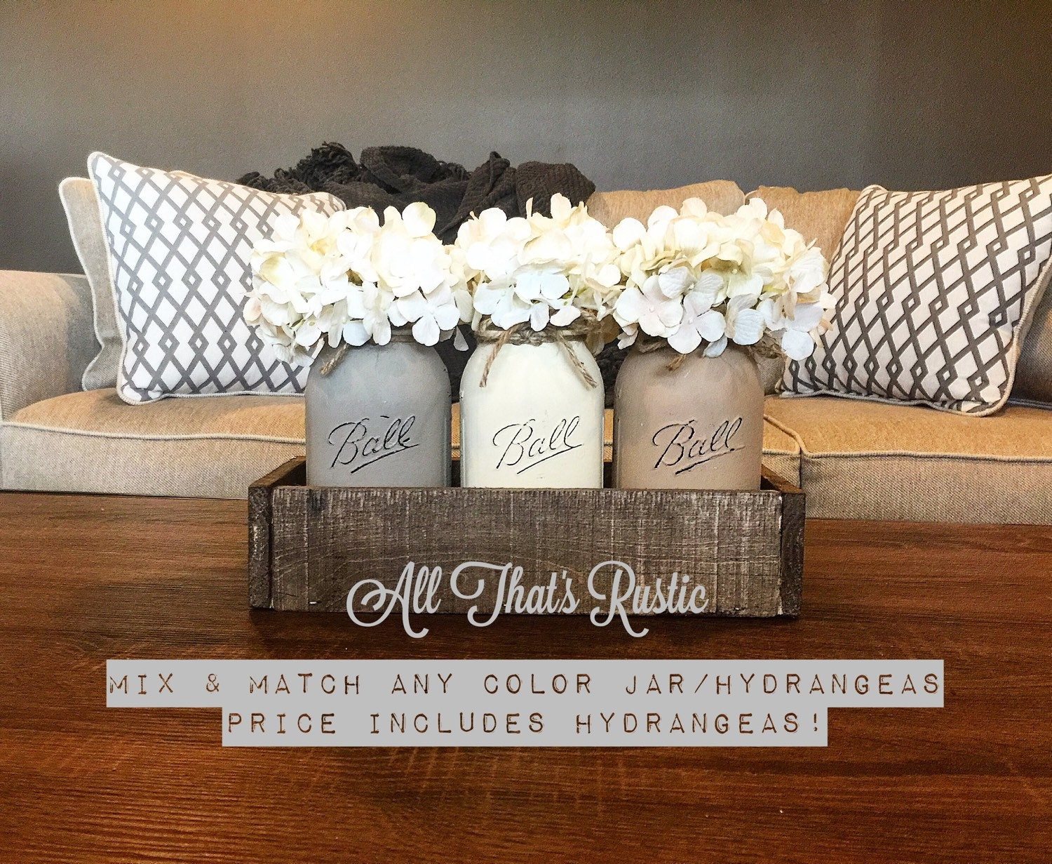 Neutral Toned Mason Jar Centerpiece Mason Jar by
