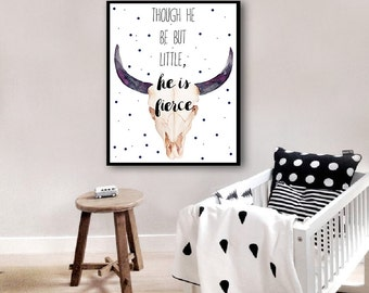 INSTANT DOWNLOAD Boy Nursery Decor Though He Be But Little He Is Fierce Little Boy Room Bull Quote Wall Art For Boys Room Printable 8x10 5x7