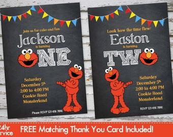 Elmo Birthday Invitation Elmo Invitation Elmo Invite Elmo Party Elmo Birthday with Free Matching Thank You Card