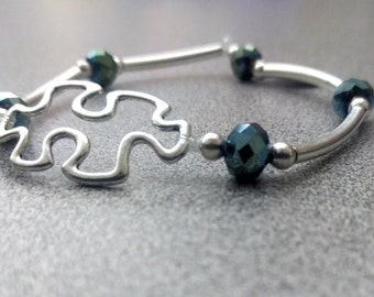 Silver Beaded Autism Awareness Puzzle Piece Bracelet