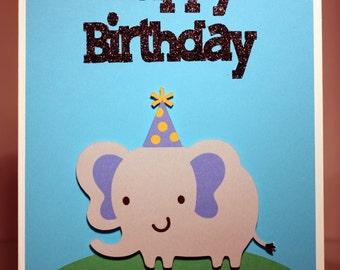 Handmade Elephant Happy Birthday Card