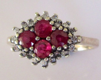 9ct Gold Ruby and Diamond Cluster Ring