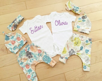 Twin Girls Coming Home Outfit / Floral / Knot Hat / Headband