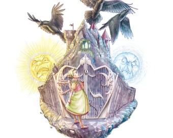 Fairy Tale Art Print: The Three Ravens