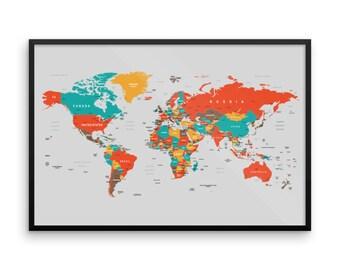 world map framed world map poster wall mount world office map christmas gift office gift framed map
