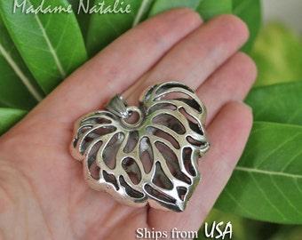 Filigree Heart Leaf Pendant, Puffed Heart Pendant, Pierced Heart, Victorian Style Pendant, Valentine's Day Heart Pendant