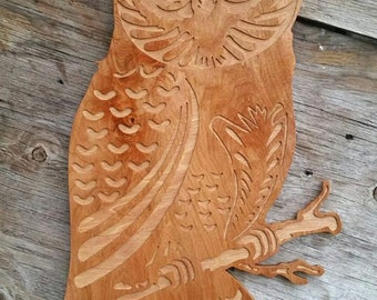 Owl Wooden Sign Wood Wall Art, Owl Wall Hanging Barn Owl