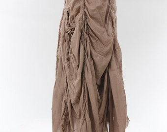 Maxi ruched pocketed A-line cotton skirt with elastic waistband and drawstring