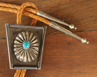 Vintage Navajo Sterling Silver and Turquoise Bolo Tie