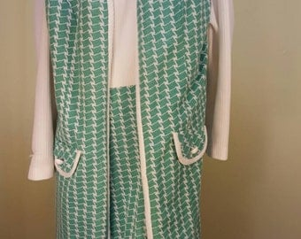 Vintage Mod 1970's Green and White Dress Suit