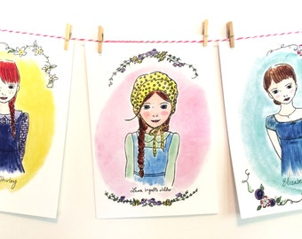 Literary Wall Art - illustrated - Girls Room Decor - banner