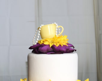 Teacup Party Cake Topper (Yellow & Purple), Tea Party, Wonderland, Flower, Pearl, OverTheTopCakeTopper