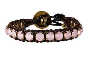 Swarovski Crystal Wrap Bracelet Opal Bracelet Leather Wrap Bracelets for Women Pink Bracelet Boho Leather Wrap Bracelet wrap Bracelets