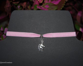 Breast Cancer Awareness Month Pastel Pink Velvet Choker Unicorn Necklace