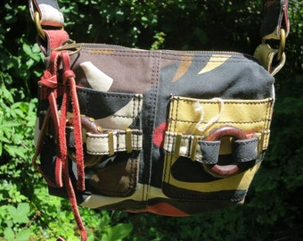 Slouchy tribal camouflage canvas belt bag