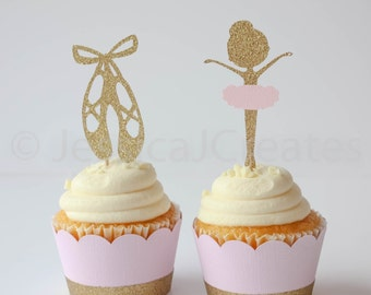 Ballerina Cupcake Toppers - Ballet Slippers - Ballerina - Cupcake Toppers - Ballerina Party Decorations - Ballerina Party