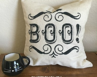 BOO! Pillow Cover | Halloween Pillow | Rustic Pillow Cover | Farmhouse Pillow | 16 x 16 Pillow Cover | Made To Order