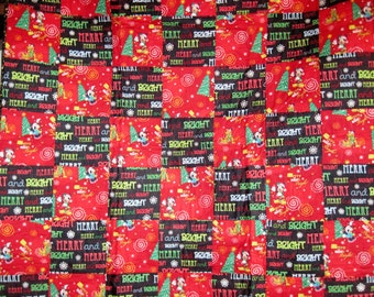 Christmas Lap Quilt with Mickey Mouse and Friends