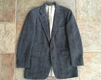 Vintage HARRIS TWEED Herringbone Wool Striped Sport Coat 38R Ivy League Trad