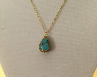 Handmade 14K gold filled Necklace with Turquoise Pendant