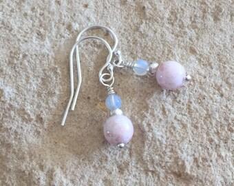 Pink drop earrings, pink glass bead earrings, opal earrings, Hill Tribe silver earrings, dangle earrings, everyday earrings, gift for her