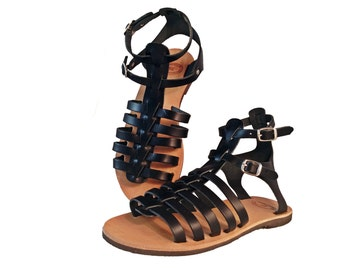 Gladiator Sandals - Low Heel Gladiators Black Leather Flat Sandals. Genuine Leather - Handmade in Greece.