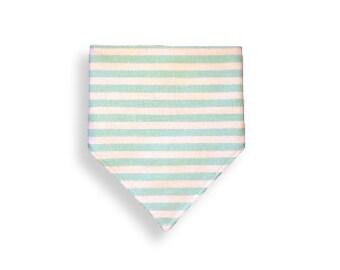 Drool Bib <<Mint Stripes>>  Neckerchief/Baby/Toddler Bandana/Scarf/Bib//Green//White