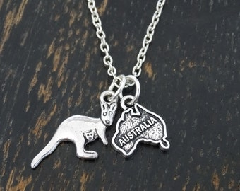 Australia Necklace, Australia Charm, Australia Pendant, Australia Jewelry, Australia Map Necklace, Australia Country,Aussie Jewelry,Kangaroo