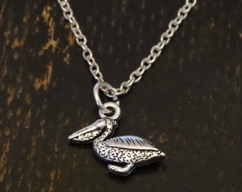 Pelican Necklace, Pelican Charm, Pelican Pendant, Pelican Jewelry, Pelican Art, Pelecanidae, Water Birds, Animal Necklace, Animal Jewelry