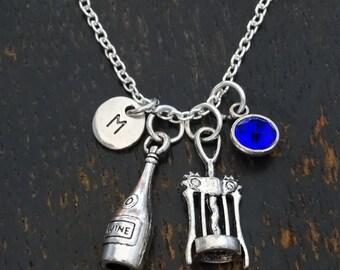 Wine Necklace, Wine Charm, Wine Pendant, Wine Jewelry, Corkscrew Charm, Corkscrew Pendant, Wine Lover Gift, Wine Lovers, 21 Birthday Gift