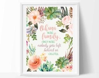 Ohana means family, Family ohana sign, Ohana wall decal, Disney family, Lilo and Stitch, nursery decor, kids wall decal