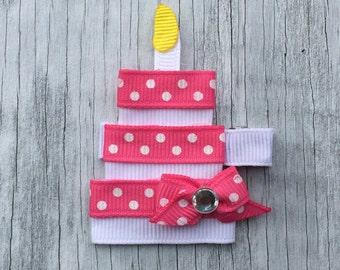 Birthday Cake Hair Clip // Birthday Hair Bow // Birthday Cake Bow // Pink Happy Birthday Cake Clip Bow // Birthday Cake Clip // Cake Clip