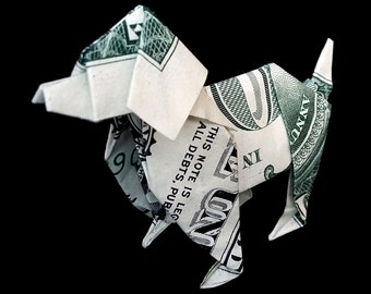 Art Gift Money Origami DOG Made out of Real One Dollar Bill