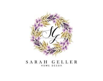Floral Wreath Logo Orchid Logo Design Decor Logo Event Planner Logo