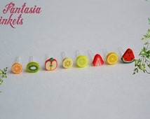 Hypoallergenic Tiny Fruit Slices Ear Studs - Colorful Fimo Clay and Plastic Post Earrings - For small or sensitive ears