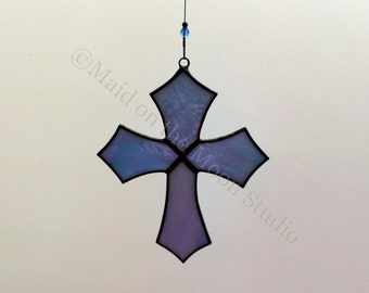 Stained Glass Cross - Iridescent Blue Perfect Cross