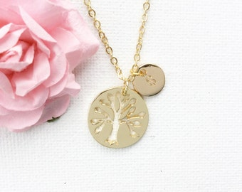 Personalized Gold Tree Necklace, Gold tree of life, tree pendant, Tree of Life Necklace, initial jewelry, family tree
