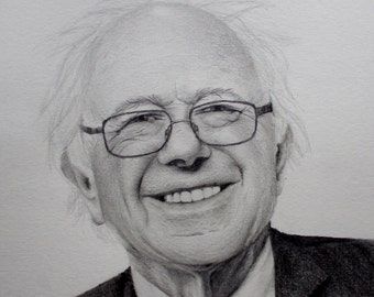 "Bernie Sanders Original Pencil Drawing 4""x6"""