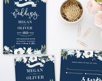 Navy Blue Floral Wedding Invitation Suite | Printable