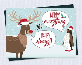 Funny Christmas Card - Merry Everything & Happy Always - Printable Christmas Card