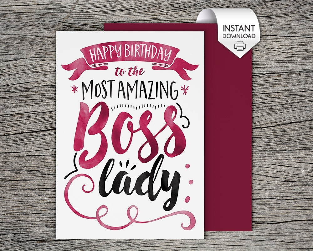 Printable Card Happy Birthday to the Most Amazing Boss Lady – Happy Birthday Cards for Boss