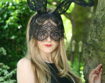 Black Lace Bunny Ears Headband, Rabbit Ears Headband, Bunny Costume,  Ariana Grande Headband, Playboy Bunny Ears, Jessica Rabbit, Burlesque