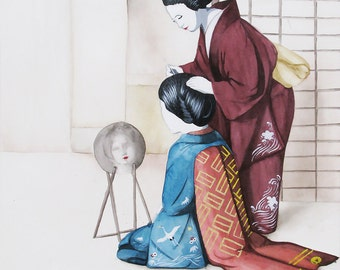 Geisha Watercolor Original Print Turquoise Yellow Red 8.5x11