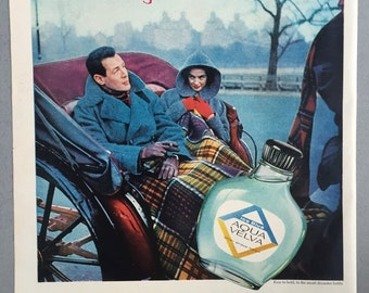 1957 Aqua Velva After Shave Print Ad - Ice Blue