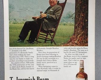 1970 Jim Beam Bourbon Whiskey Print Ad featuring T. Jeremiah Beam